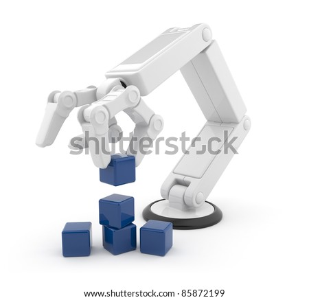 Robotic hand gather cube 3d. Artificial intelligence. Isolated on white background