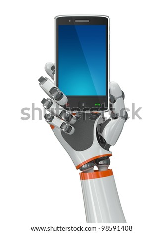 Robotic hand holding a mobile phone with blank screen. Contains vector paths for screen and hand.