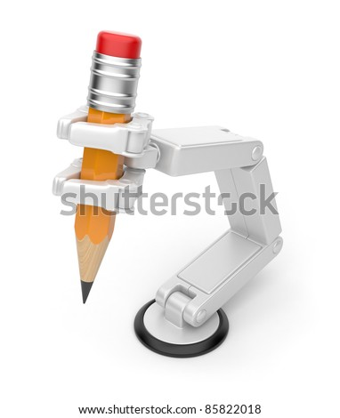 Robotic hand holding pencil 3d. Artificial intelligence. Isolated on white background