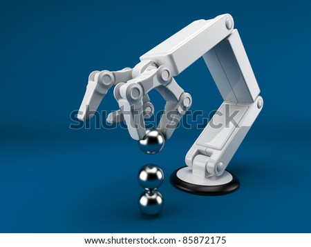 Robotic hand holding sphere 3d. Artificial intelligence. On blue - stock photo