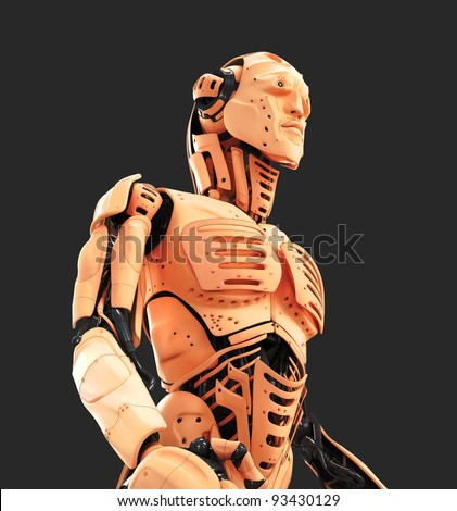 Robotic man with human skin / Unusual cyborg with human skin and fish properties