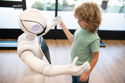robotic pandemic future. robot communicate with child. automation. humanoid technology