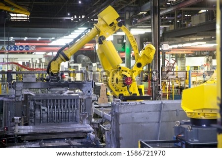 Robotic Production Line In Engine Manufacturing Factory