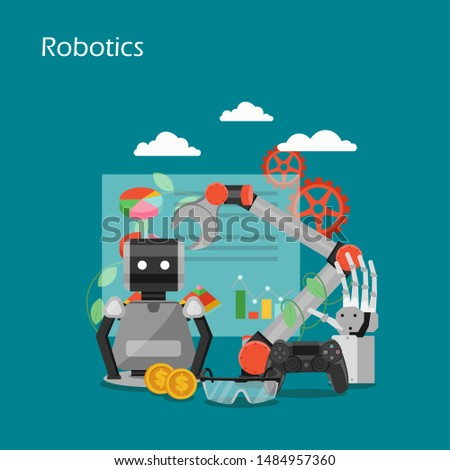 Robotics flat illustration. Robot, industrial robotic arm and hand, charts, graphs, joystick, dollar coins. Business process automation technology concept for web banner, website page etc.