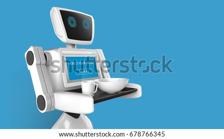 Robotics Trends technology business concept. Autonomous personal assistant personal robot for serve foods in restaurant with blue background. 3D rendering