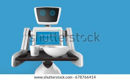 Robotics Trends technology business concept. Autonomous personal assistant personal robot for serve foods in restaurant with blue background. 3D rendering