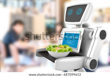 Robotics Trends technology business concept. Autonomous personal assistant personal robot for serve food in restaurant with blur background. 3D rendering