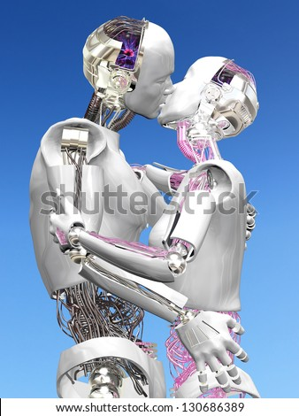 Robots in Love - Two Robots in an embrace kissing.