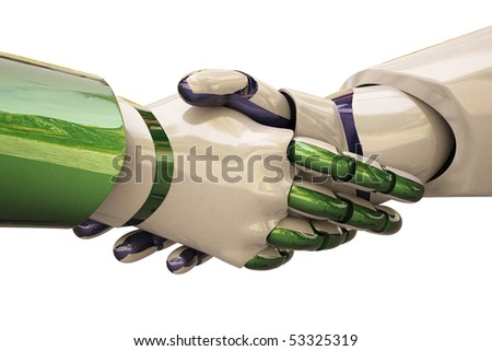 Robots shake hands. With clipping path.