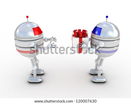 Robots with gifts, 3D images