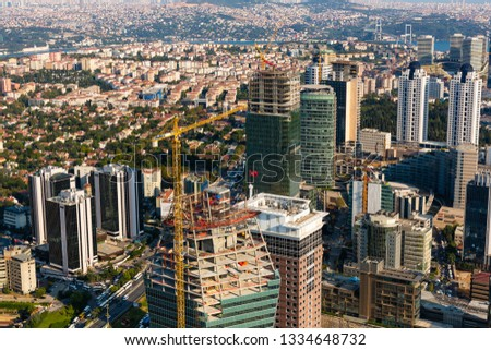 Robust construction sector in Istanbul, many skyscrapers being built #1334648732