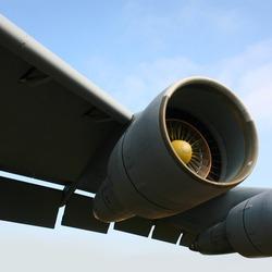 Robust jet engine of Lockheed C-5 Galaxy heavy military transport aircraft