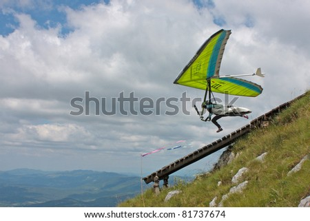 ROC, CROATIA - JUNE 29: Competitor) of the Croatian Open hang gliding competitions takes part on June 29, 2011 in Roc,  Croatia