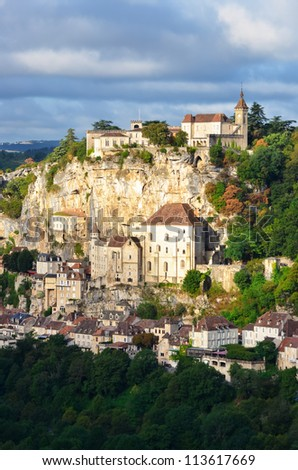 Rocamadour medieval village at sunrise, vertical view, France