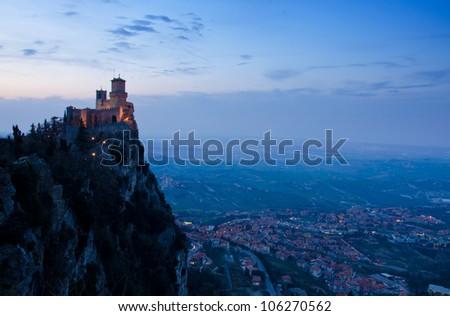 Rocca della Guaita, the most ancient fortress of San Marino, Italy at twilight