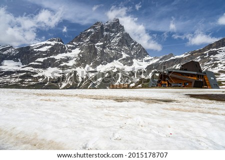 Rocce Nere design restaurant under the Matterhorn (Cervino) at Plan Maison. Breuil-Cervinia, Aosta Valley, Italy, June 2021 Photo stock ©