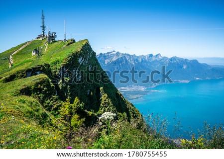 Rochers-de-Naye or rocks of Naye 2042 m summit overlooking Geneva lake in Swiss Alps Switzerland Photo stock ©