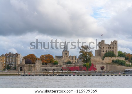 Rochester Castle and Cathedral Kent UK viewed across the River Medway.
