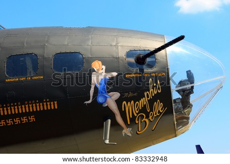 ROCHESTER, NY - JULY 17: The WWII era B-17 bomber aircraft named the Memphis Belle on display at an airshow in Rochester, New York on July 17, 2011 - stock photo