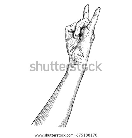 Rock And Roll Hand Sign Hand Drawn Man Style Fist Demon Symbol