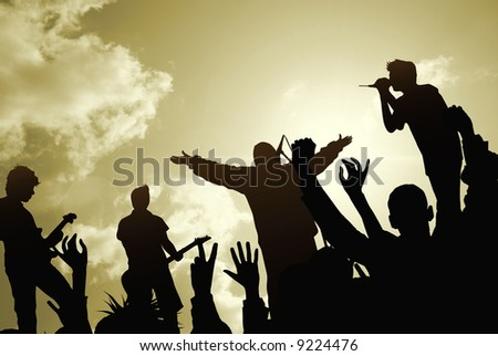 rock-and-roll live - stock photo