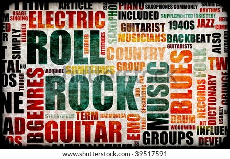 Rock and Roll Music Poster Art as Background - stock photo