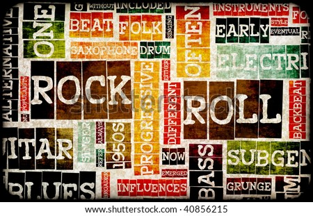 Poster  on Rock And Roll Music Poster Art As Background Stock Photo 40856215