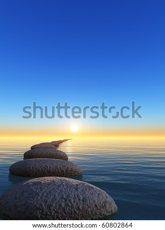 rock and sunrise. The abstract bridge in the open ocean from a pebble