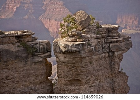 Rock and the Canyon. Grand Canyon Lonely Rock Closeup. Arizona, USA. Nature Photography Collection.