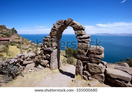 Rock Arch on Taquile Island , Puno, Peru