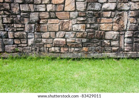 Rock background with a grass