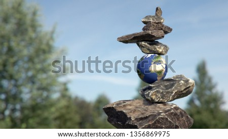 Rock balance in perfect equilibrium thanks to planet earth.