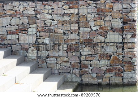 Rock basket (gabions) filled with quartzite stone