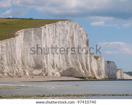 Rock beach and White Cliff at Seven Sisters Coast.