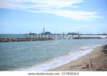 Rock breakwater and Blue sky in Rayong at Thailand #557800363