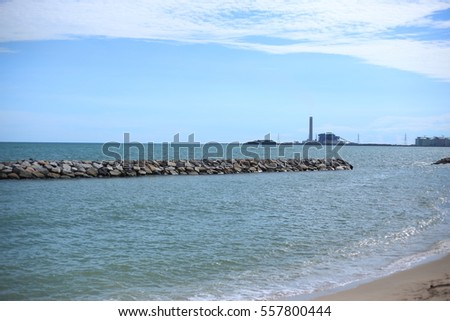 Rock breakwater and Blue sky in Rayong at Thailand #557800444
