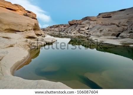 Rock canyon beside maekhong river, Thailand