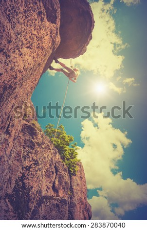 rock climber against the sky...