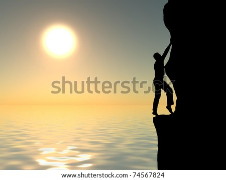 rock climber conquering a mountain on the background of sky and bright sun