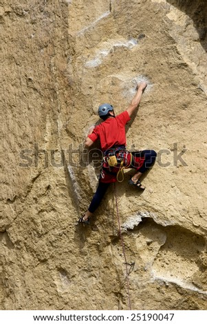 Rock climber in Central Oregon