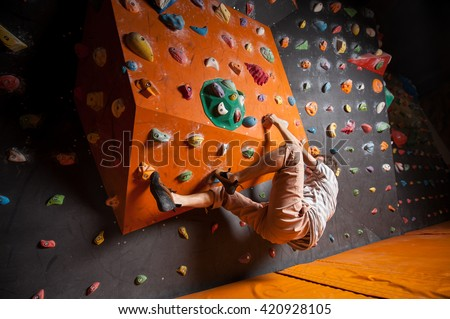 rock climber making difficult...