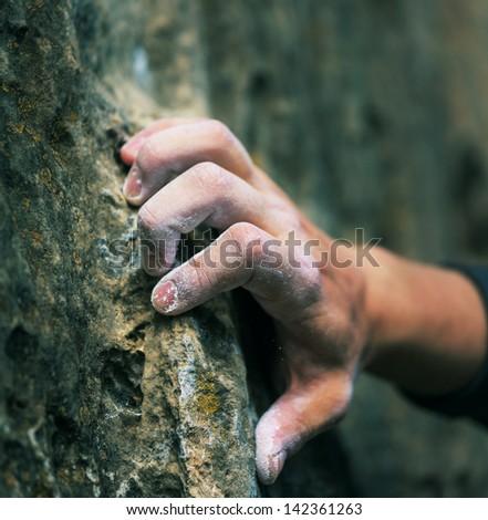Rock climber's hand Stockfoto ©