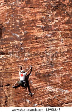 Rock climbing in Red Rock Canyon, Nevada.