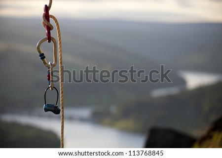 rock climbing rope with hooks overlooking a nice view
