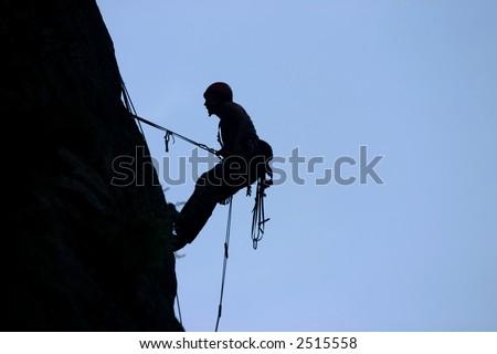 Rock climbing silhouette, Demir Kapija wall