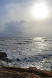 Rock coast. Big indian ocean waves. Sri Lanka