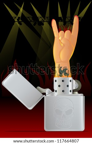 Rock Concert/Rock N Roll Hand and Lighter