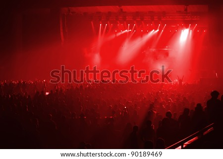 Rock concert with red background