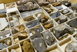 Rock core samples a geological laboratory