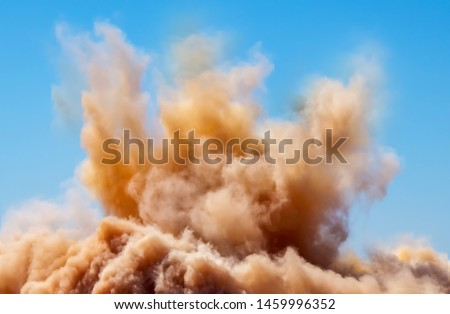 Rock dust clouds during detonator blasting on the mining site  Foto d'archivio ©